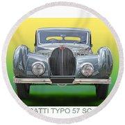 1937 Bugatti 57 S C Atalante Round Beach Towel