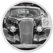1937 Chevrolet Custom Convertible Bw Round Beach Towel