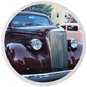 1937 Chevy Two Door Sedan Front And Side View Round Beach Towel