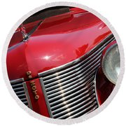 1937 Desoto Front Grill And Head Light 7285 Round Beach Towel