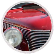 1937 Desoto Front Grill And Head Light-7289 Round Beach Towel