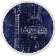 1937 Gibson Electric Guitar Patent Drawing Blue Round Beach Towel