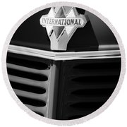 1937 International D2 Pickup Truck Grille Emblem Round Beach Towel