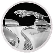 1937 Jaguar Prototype Hood Ornament -386bw55 Round Beach Towel