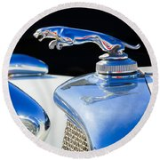 1937 Jaguar Prototype Hood Ornament -386c55 Round Beach Towel