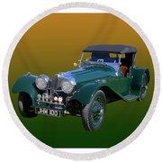 1937 Jaguar S S Onehundred  Round Beach Towel