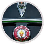 1937 Packard 1508 Twelve Convertible Sedan Emblems Round Beach Towel
