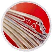 1937 Pontiac Chief Custom Hood Ornament Round Beach Towel