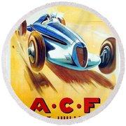 1938 - Automobile Club De France Poster - Reims - George Ham - Color Round Beach Towel