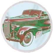 1938 Cadillac Lasalle Antique Pop Art Round Beach Towel
