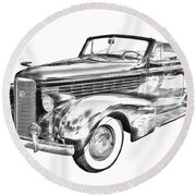 1938 Cadillac Lasalle Illustration Round Beach Towel