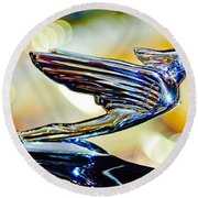 1938 Cadillac V-16 Hood Ornament 2 Round Beach Towel by Jill Reger