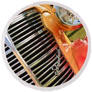 1938 Chevrolet Coupe Grille Emblems Round Beach Towel