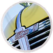 1938 Chevrolet Coupe Hood Ornament -0216c Round Beach Towel