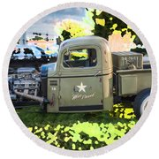 1938 Chevy Pick Up Truck Rat Rod Round Beach Towel