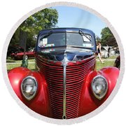 1938 Ford Two Door Sedan Front View Round Beach Towel