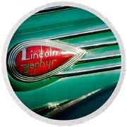 1938 Lincoln Zephyr Emblem Round Beach Towel