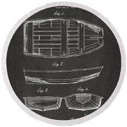 1938 Rowboat Patent Artwork - Gray Round Beach Towel by Nikki Marie Smith