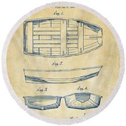 1938 Rowboat Patent Artwork - Vintage Round Beach Towel
