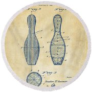 1939 Bowling Pin Patent Artwork - Vintage Round Beach Towel