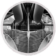 1939 Chevrolet Coupe Grille -115bw Round Beach Towel