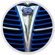 1939 Ford Woody Wagon Grille Emblem Round Beach Towel