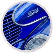 1939 Ford Woody Wagon Side Emblem Round Beach Towel