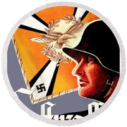 1939 German Luftwaffe Recruiting Poster - Color Round Beach Towel