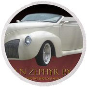 1939 Lincoln Zephyr Poster Round Beach Towel