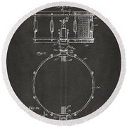 1939 Snare Drum Patent Gray Round Beach Towel
