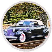1940 Cadillac Coupe Convertible Round Beach Towel