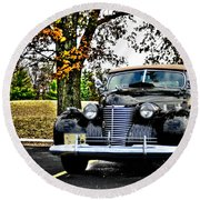 1940 Cadillac Coupe Round Beach Towel