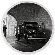 1940 Chevrolet Pickup Truck In Alcatraz Prison Round Beach Towel by RicardMN Photography