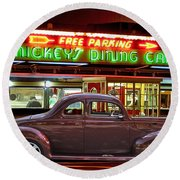 1940 Ford Deluxe Coupe At Mickeys Dinner  Round Beach Towel