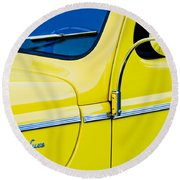 1940 Ford Deluxe Side Emblem Round Beach Towel