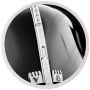 1940 Ford V8 Hood Ornament -323bw Round Beach Towel
