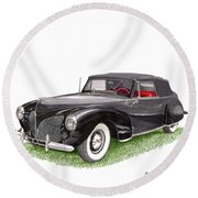 Lincoln Zephyr Cabriolet Round Beach Towel