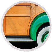 1940 Packard 120 Woody Station Wagon Wheel Emblem Round Beach Towel