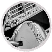 1940 Plymouth Deluxe Woody Wagon Steering Wheel Emblem -0116bw Round Beach Towel