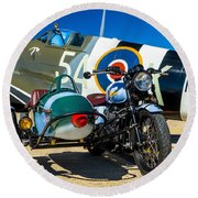 1940 Triumph And Supermarine Mk959 Spitfire  Round Beach Towel