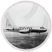 1940s 1950s American Airlines Convair Round Beach Towel by Vintage Images