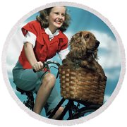 1940s 1950s Smiling Teen Girl Riding Round Beach Towel