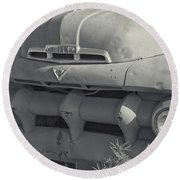 1940's Ford Truck Black And White Round Beach Towel