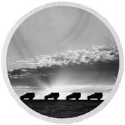 1940s Line Of Anonymous Silhouetted Round Beach Towel