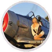 1940s Style Aviator Pin-up Girl Posing Round Beach Towel