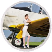 1940s Style Navy Pin-up Girl Leaning Round Beach Towel by Christian Kieffer