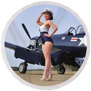 1940s Style Navy Pin-up Girl Posing Round Beach Towel