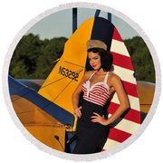 1940s Style Pin-up Girl Leaning Round Beach Towel by Christian Kieffer