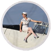 1940s Style Pin-up Girl Sitting Round Beach Towel