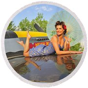 1940s Style Pin-up Girl With Parasol Round Beach Towel by Christian Kieffer